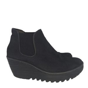 Fly London Womens Black Wedge Ankle Booties Size39